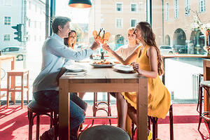 Happy diners at a restaurant