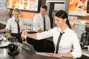 Restaurant workers at a POS system